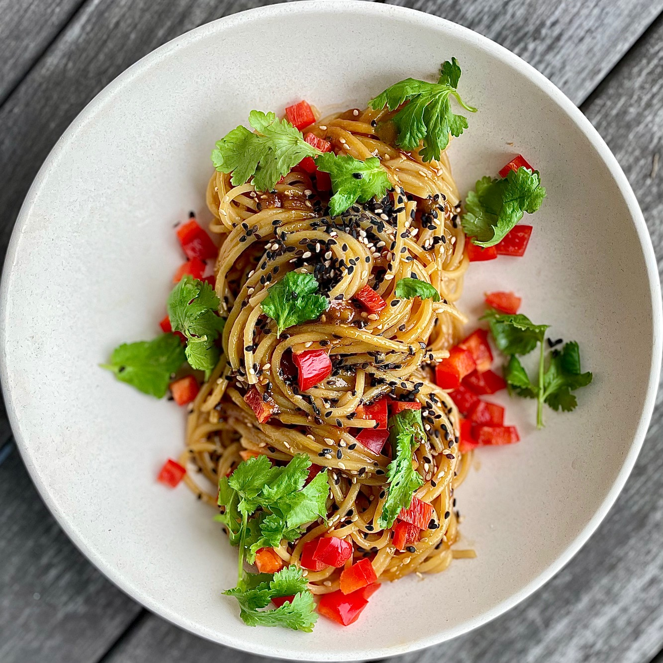 "warm peanut noodles with cool ""confetti"" veggies"