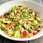 """lemony herb """"orzotto"""" with garlicky chickpeas and zucchini"""