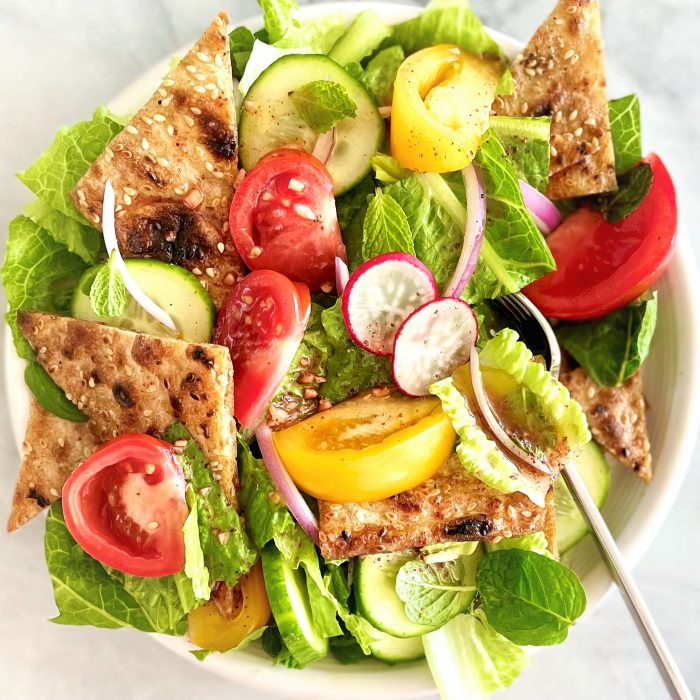 fattoush with heirloom tomatoes