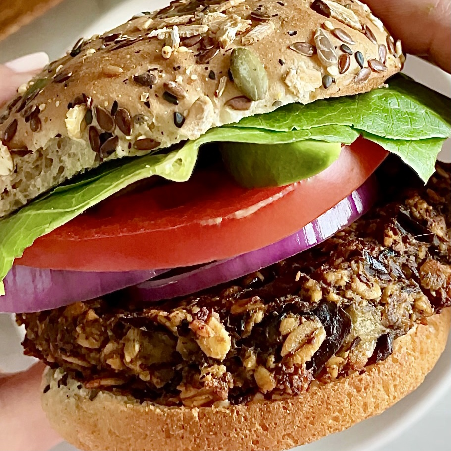 roasted no-beans plant-based burgers