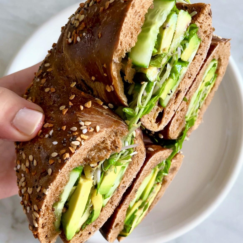 stuff-by-color bagel sandwich