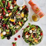 peach and raspberry salad