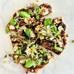 pan-grilled seasonal fruit & treenut cheese pizza