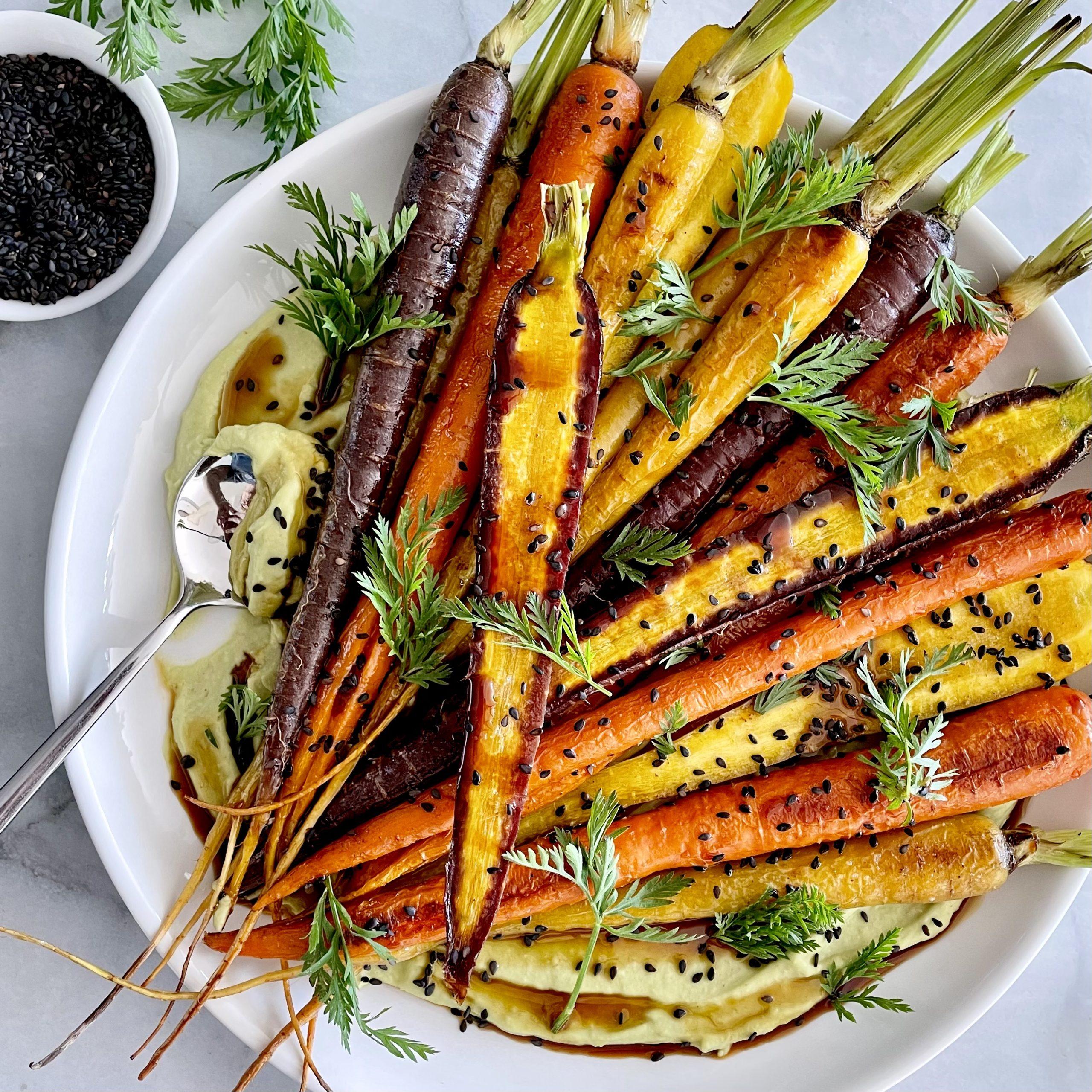 Plate of roasted rainbow carrots