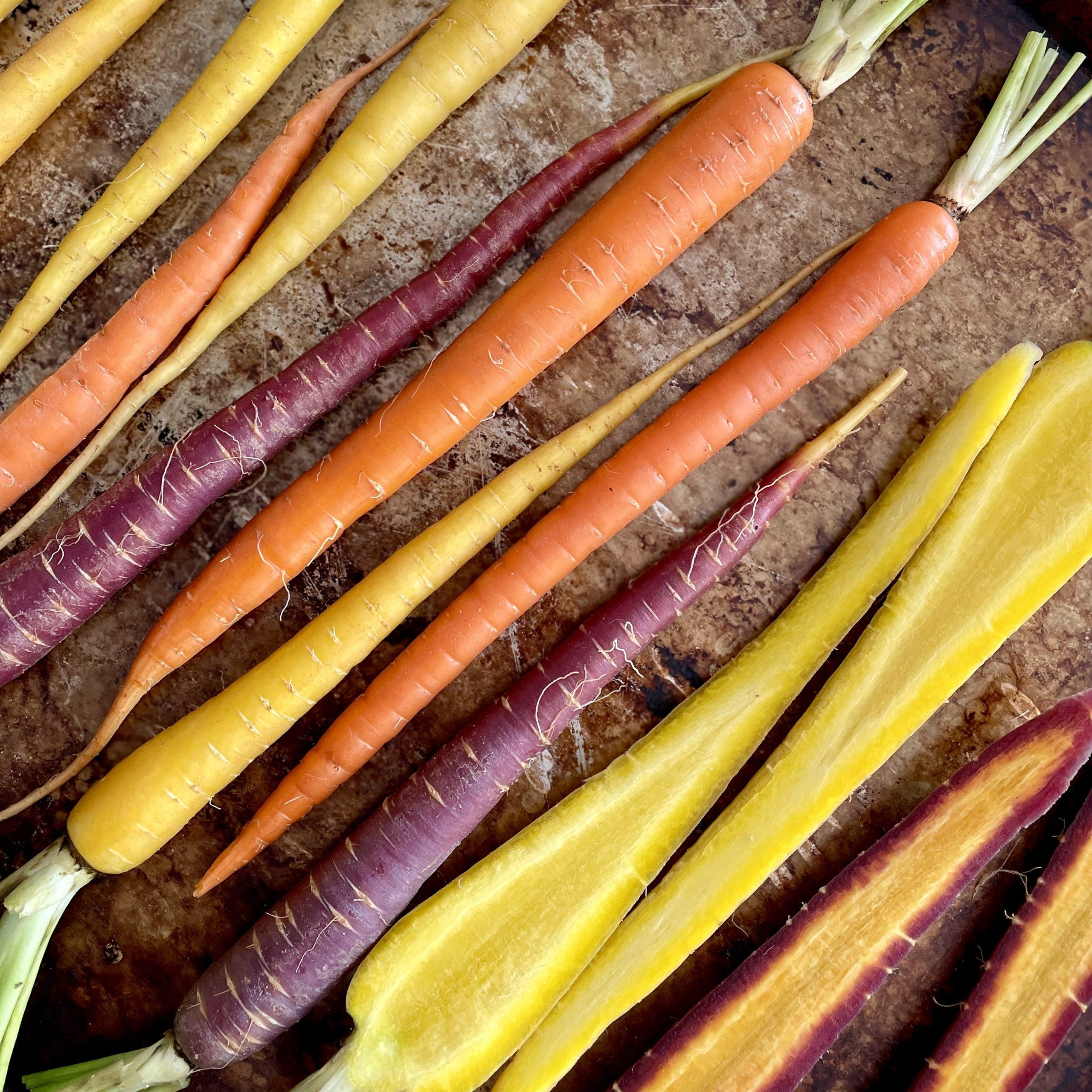 Rainbow carrots before roasting